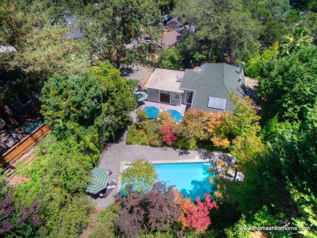 aerial view of 2 Foothill Road San Anselmo