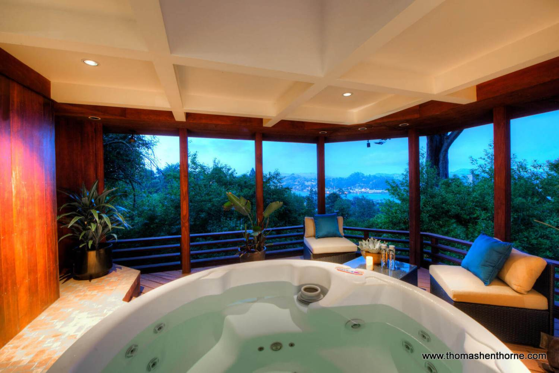 Spa / hot tub at dusk