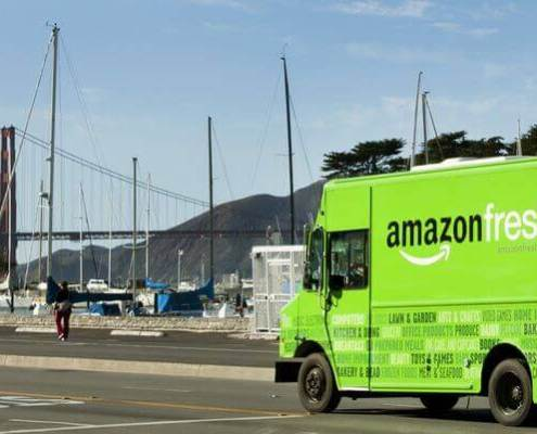Amazon Fresh truck near Golden Gate bridge for Marin grocery delivery article
