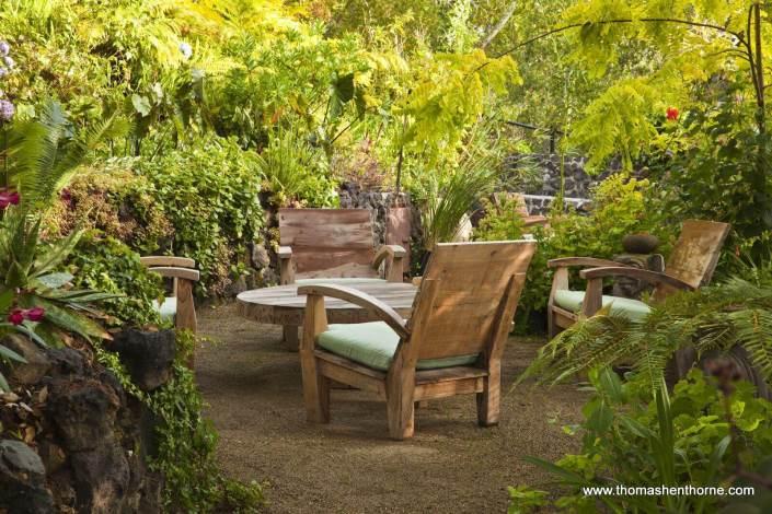 Teak garden seating area