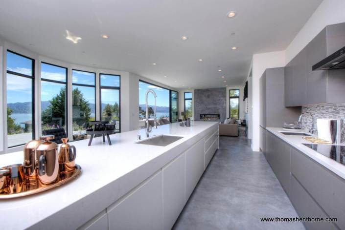 Kitchen with view and open floor plan