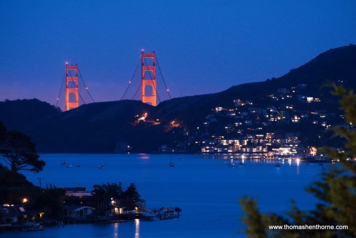 View of Golden Gate Bridge from 21 Gilmartin Drive Tiburon with bay in foreground