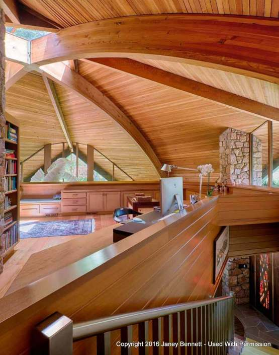 Interior dome house with beautiful wood ceiling and beams like a seashell