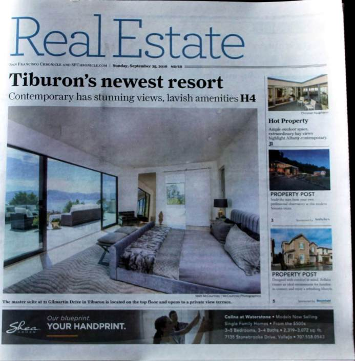 San Francisco Chronicle Feature on 21 Gilmartin in Tiburon
