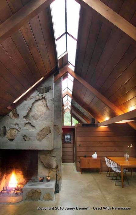 A-Frame home with fireplace