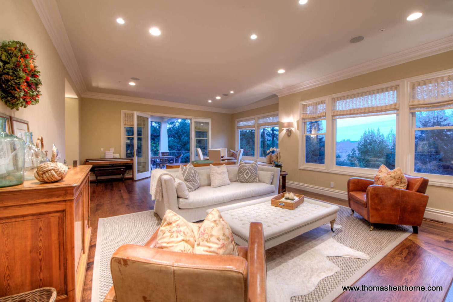 Living room with windows at twilight