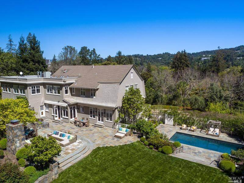 68 Bridge Road Ross California Former home of Phil Lesh view of pool and home and outdoor fireplace