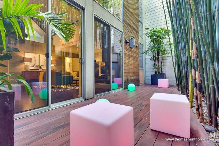 Outdoor deck with timber bamboo off living room
