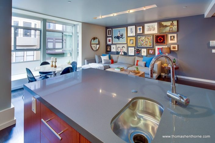 Kitchen island at 124 Lily Street San Francisco