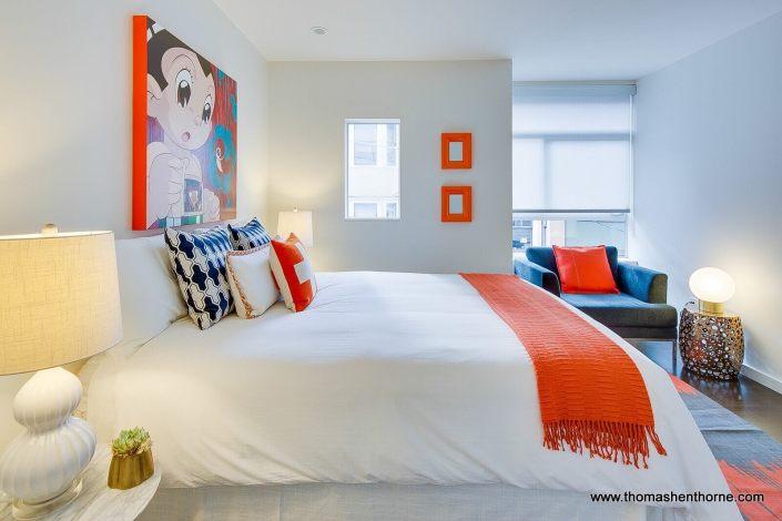 Bedroom with orange accents