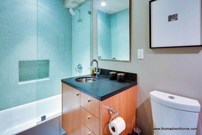 Bathroom with mosaic tile