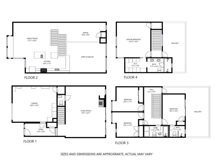 124 Lily Street San Francisco Floorplan Showing All 4 Floors