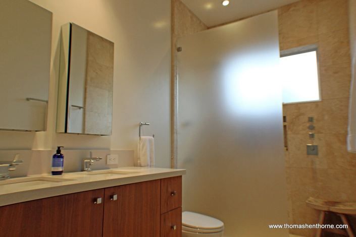bathroom with dual vanity sinks