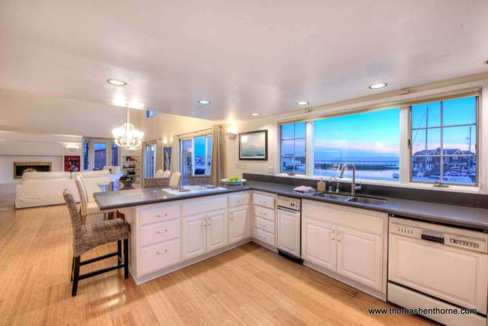 Kitchen at 1298 Sanderling Island looking out to bay and SF
