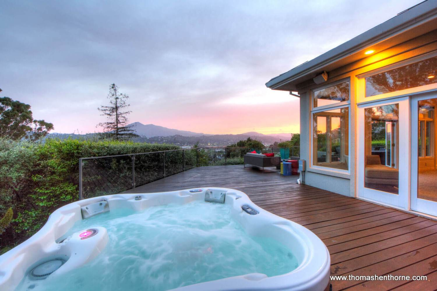 Hot tub with view of Mt. Tam at dusk