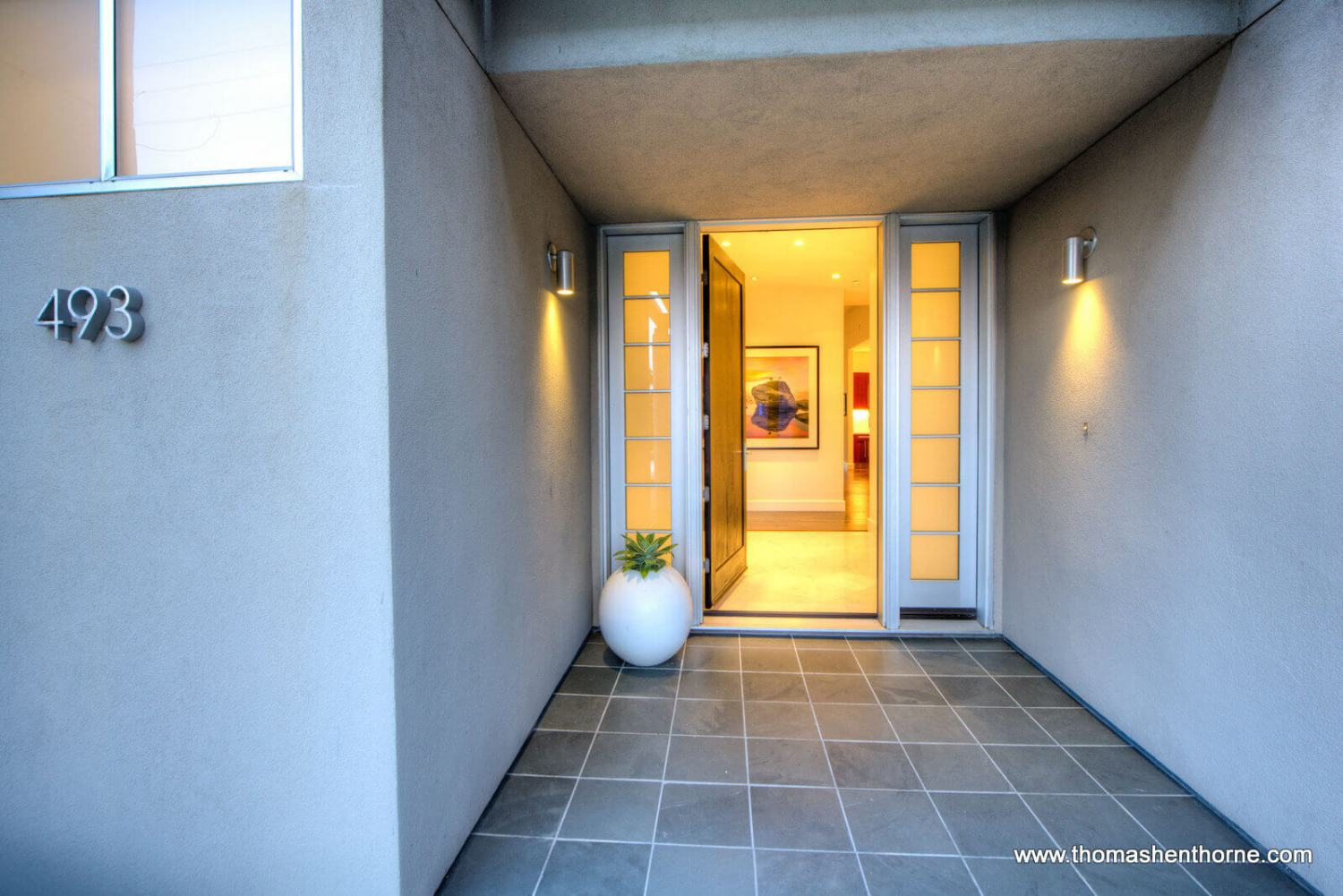 Entry walkway and door