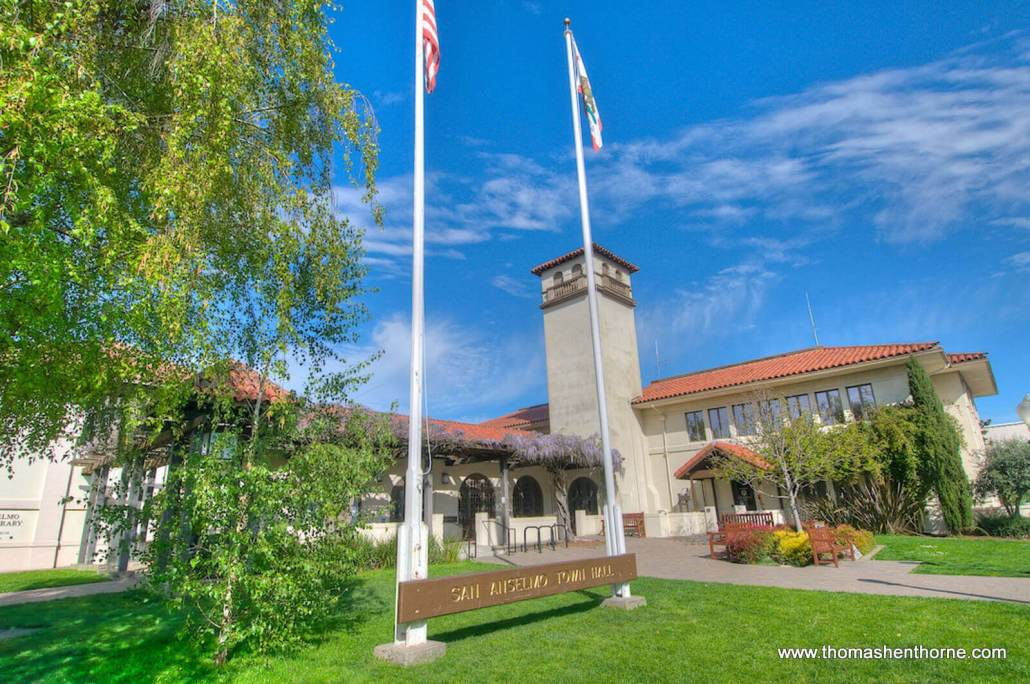 San Anselmo town hall front exterior on sunny day