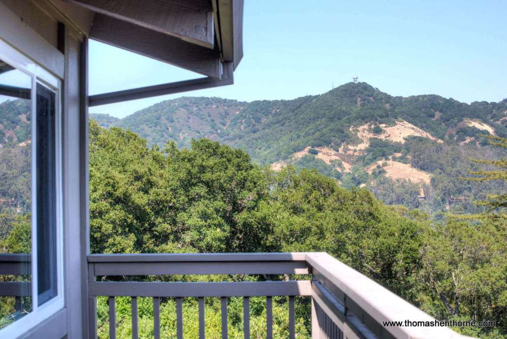 View of San Rafael hills beyond deck