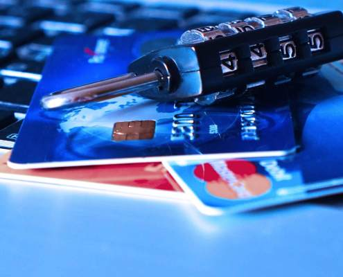 Photo of credit cards and padlock for data breach advice story