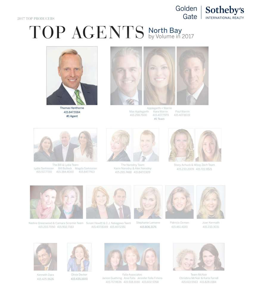 Marin County Top Real Estate Agent 2017 Thomas Henthorne