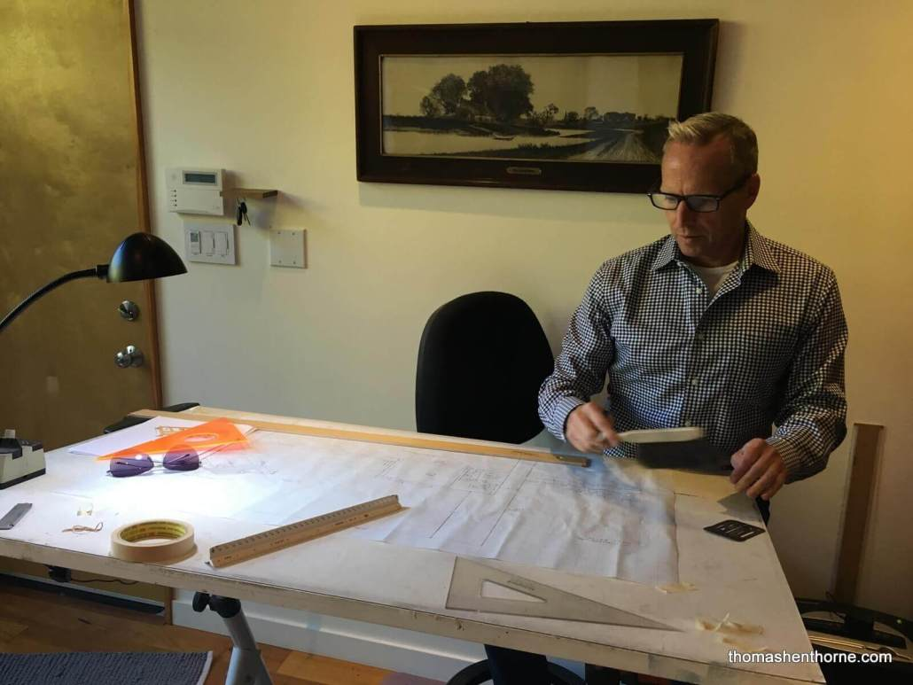 Thomas working on the landscape plan for 21 Gilmartin Drive