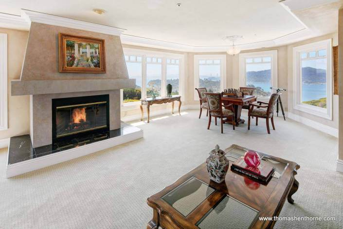 Fireplace in master bedroom with view of San Francisco bay