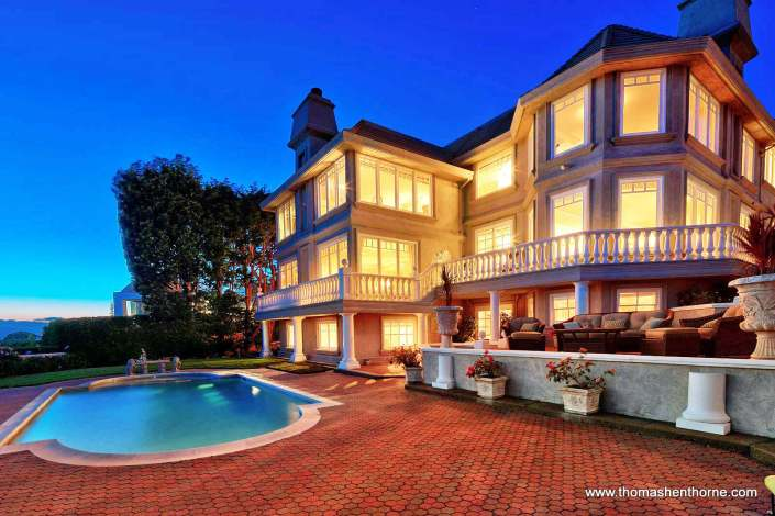 190 Gilmartin Drive in Tiburon, California Swimming Pool and Back Exterior of Home