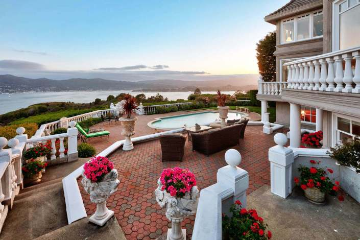 Outdoor patio with view of San Francisco bay