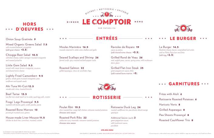 Le Comptoir Menu April 2018