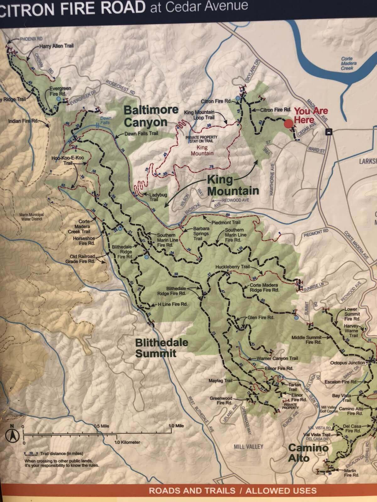 Map of Citron Fire Road and King Mountain