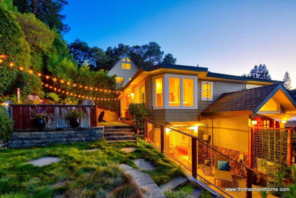 Twlight at 148 Crescent Road in Corte Madera