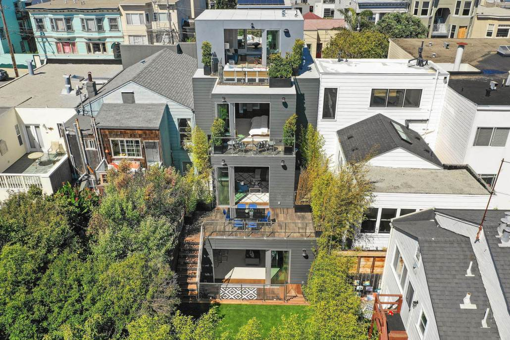 Aerial view of modern home in San Francisco