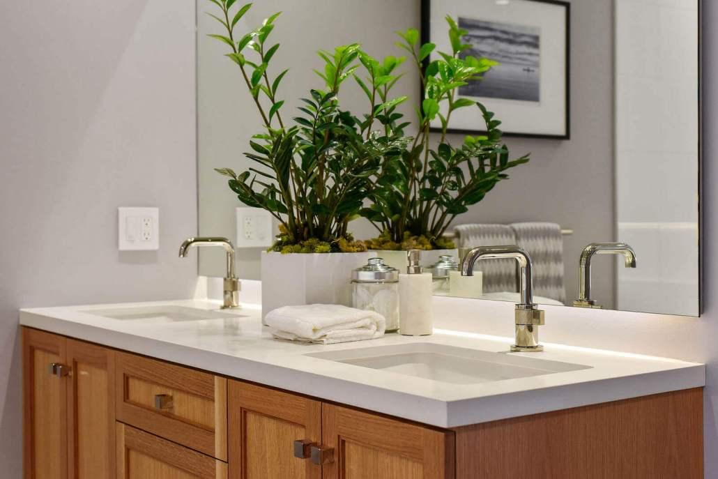 Modern luxury bathroom vanity with two sinks
