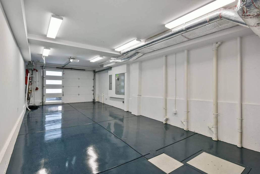Garage with shiny clean concrete floor