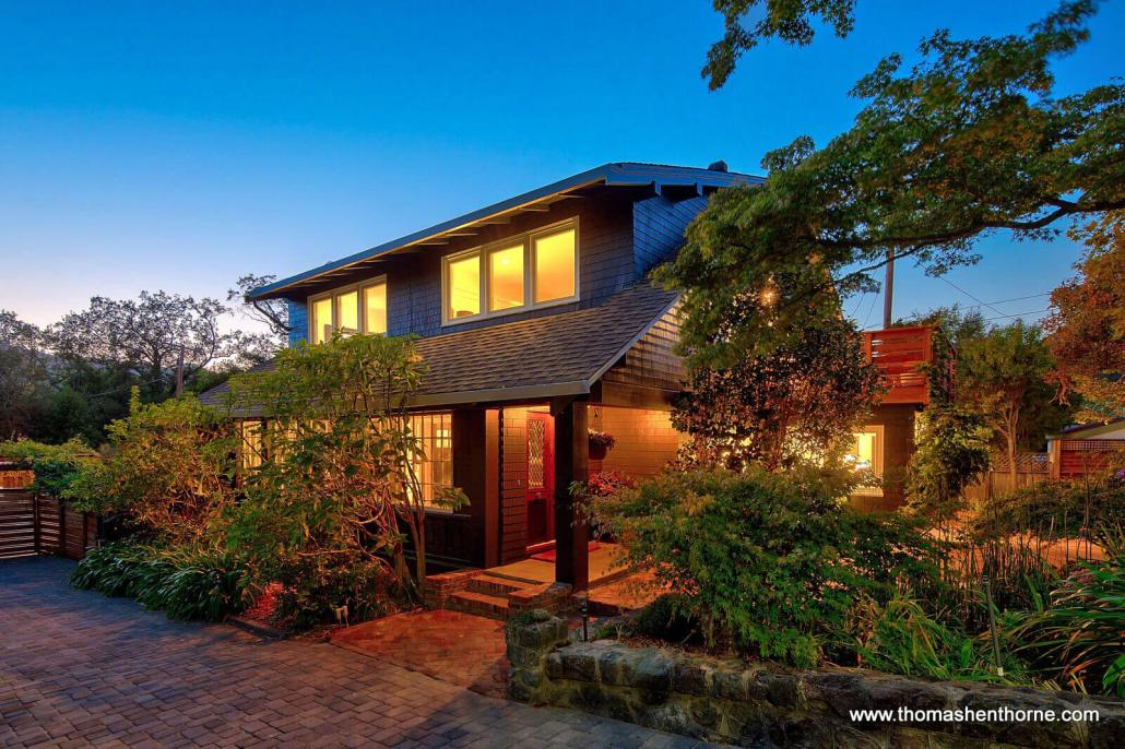 View of home at twilight in San Anselmo California