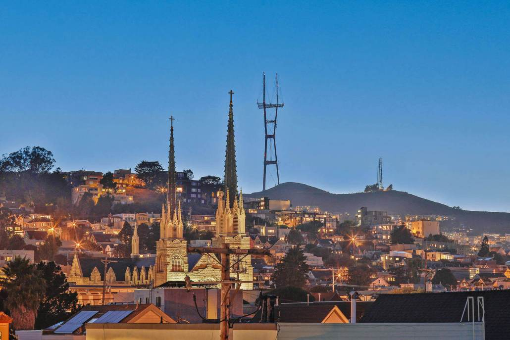 San Francisco view of Noe Valley at Sunset