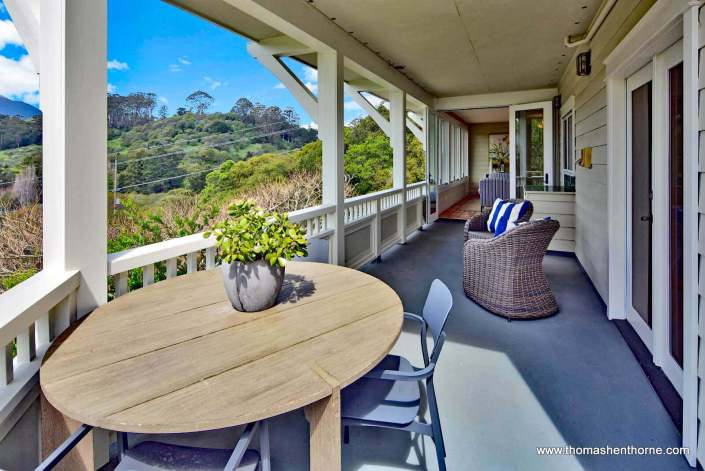 Patio with round table at 208 Benson Circle Mill Valley