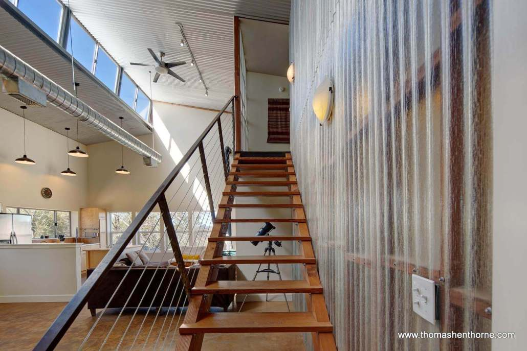 Modern stairway with cable rails