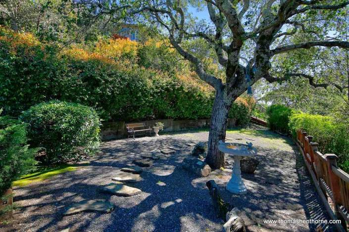 Garden with birdbath