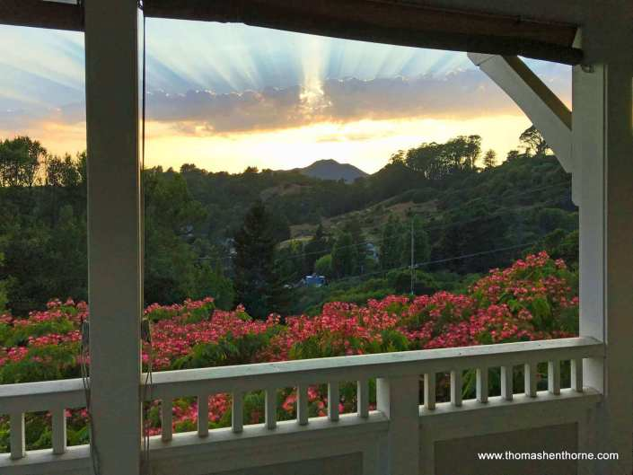 Sunset over Mt. Tamalpais with rays