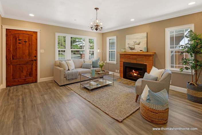 Living room with wide-plank engineered wood floors