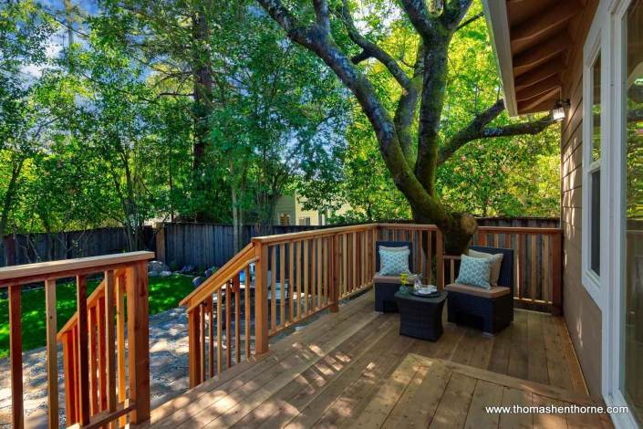 Shaded deck with two chairs