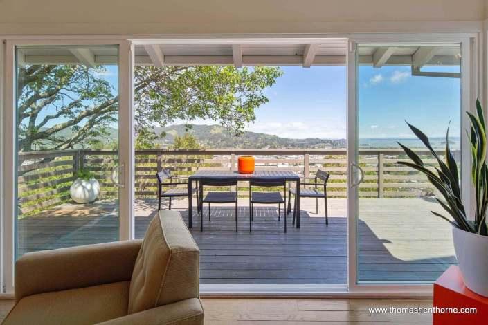 Open sliding doors to deck