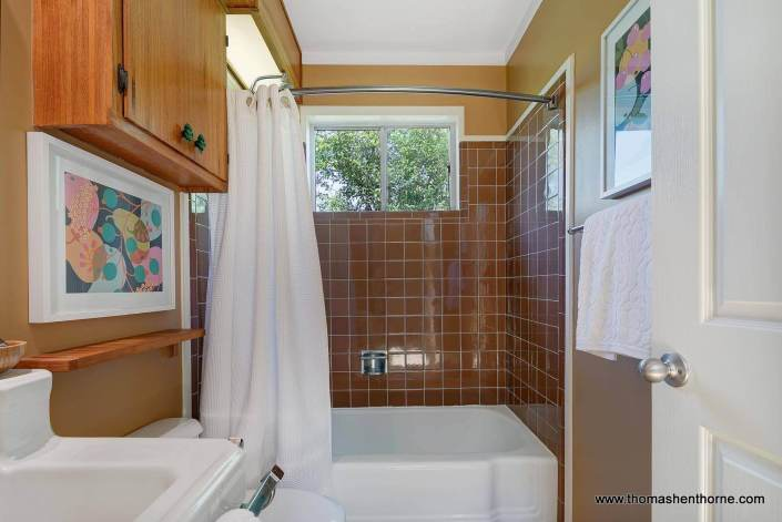 Tub shower with brown tile
