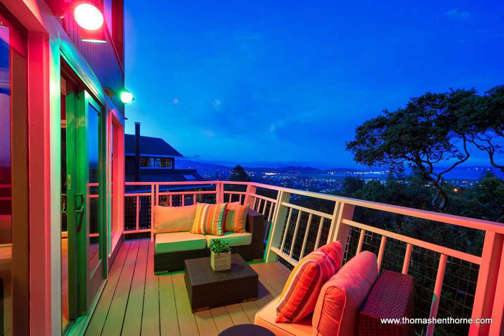 Deck with colored lights