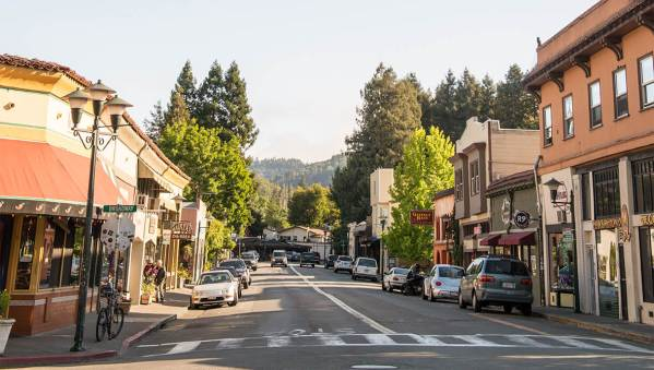 Downtown Fairfax California looking south on Bolinas