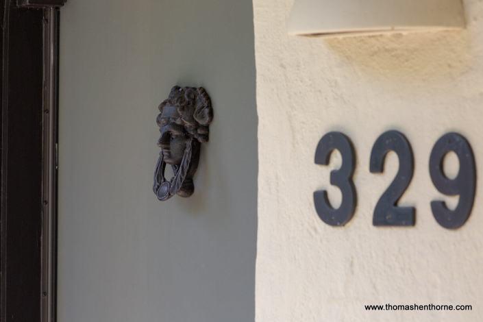 door knocker and address