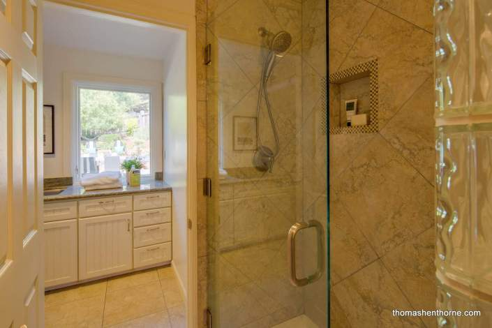 Shower stall with glass door