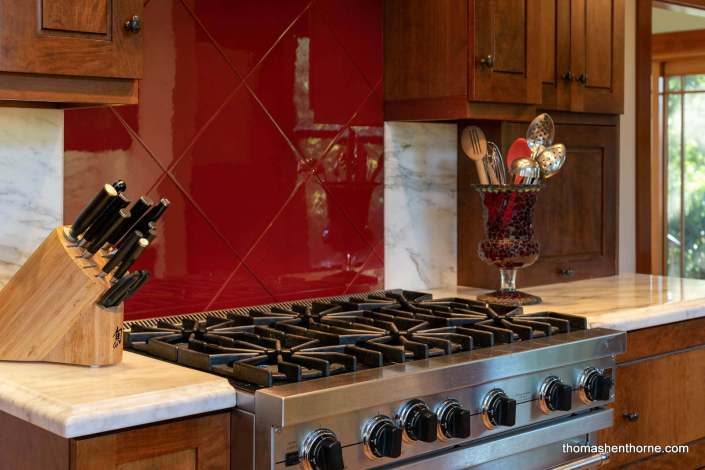stainless range and marble counter top