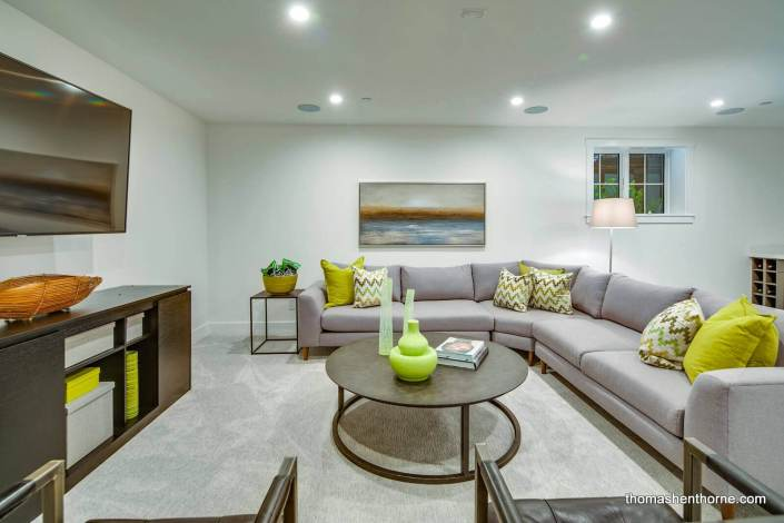 Media room with sectional sofa